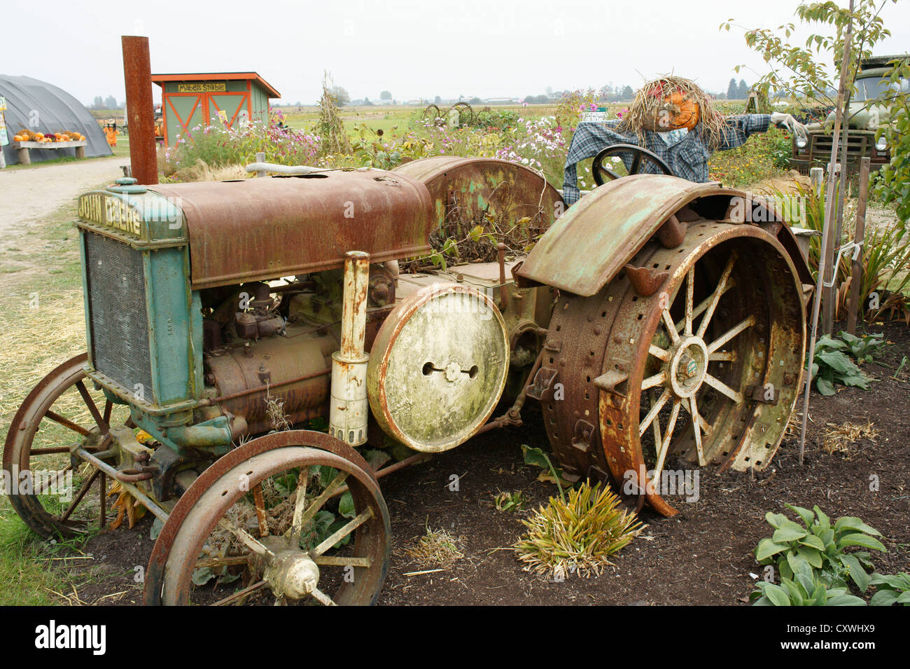 Old john deere tractor at a farm in ladner british for Columbia craft show 2017