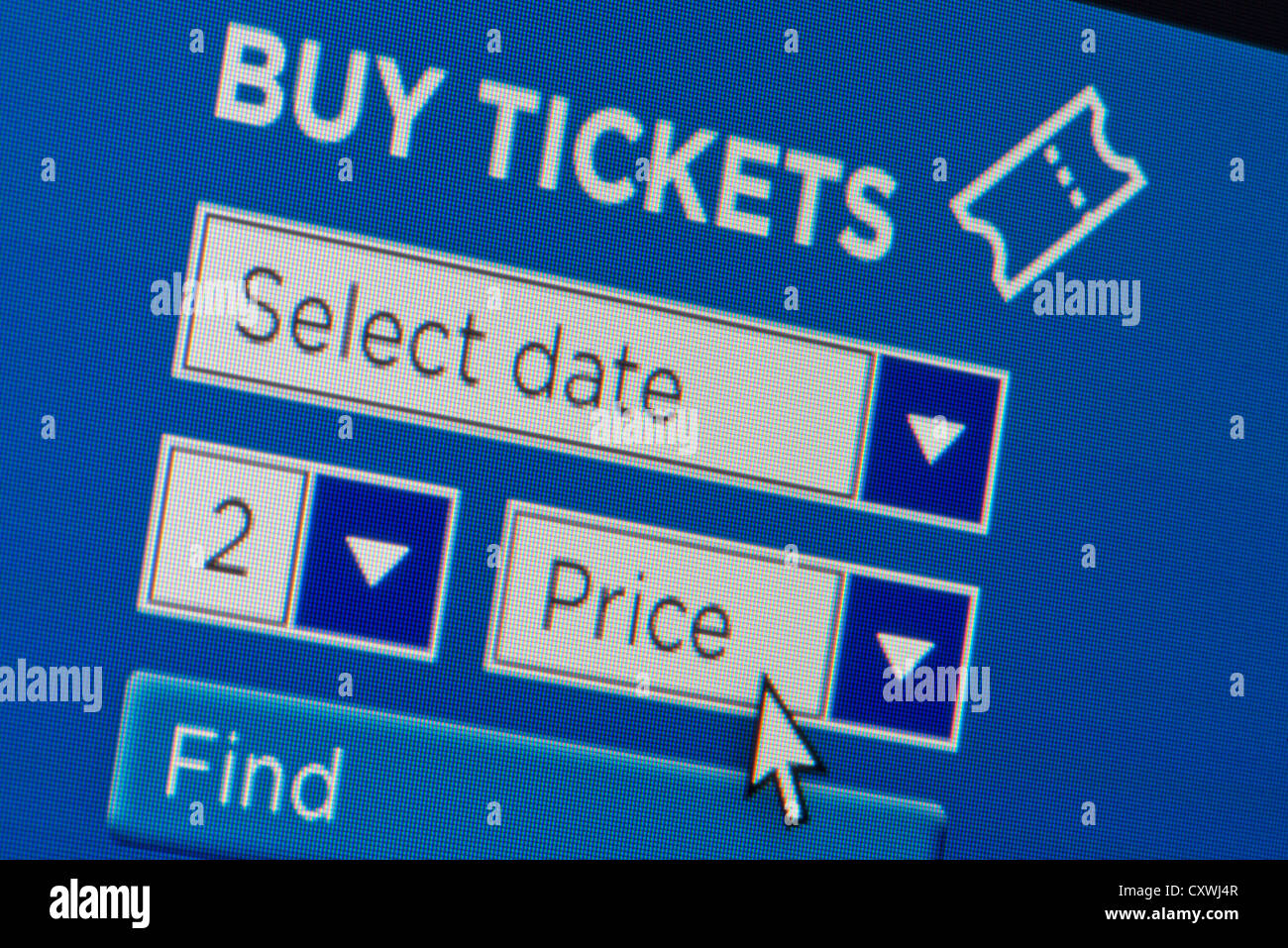 Close up of a fictional website inviting users to buy tickets after entering search details. - Stock Image