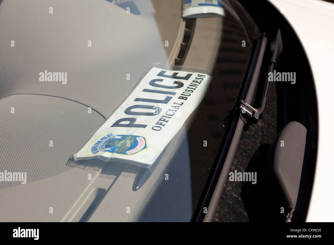 Police Official Business tag in car - Washington, DC USA - Stock Image