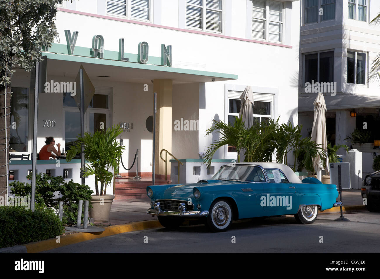 classic ford thunderbird outside the avalon hotel ocean drive in the art deco district of miami south beach florida - Stock Image