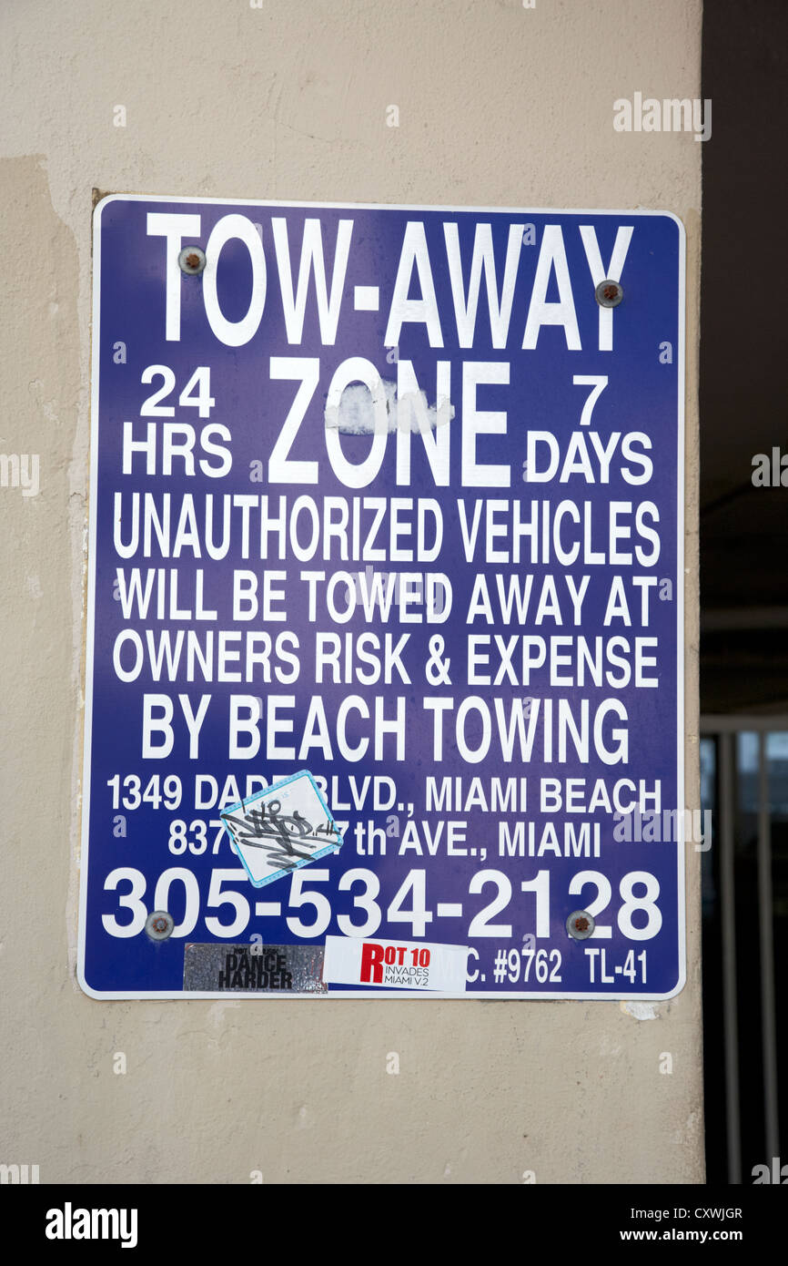 tow-away zone warning sign in miami south beach florida usa - Stock Image