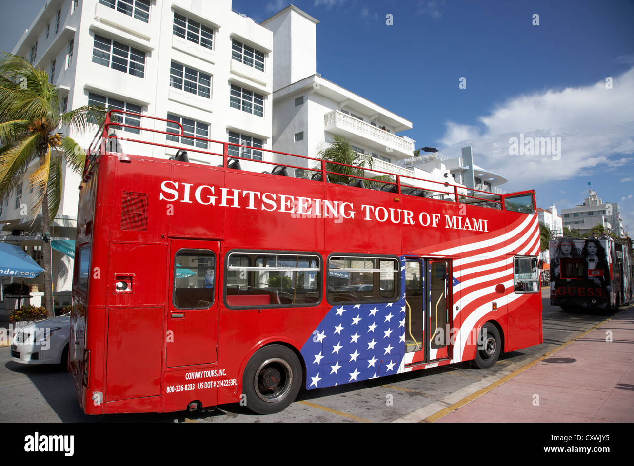 sightseeing tour red double deck bus miami south beach florida usa - Stock Image