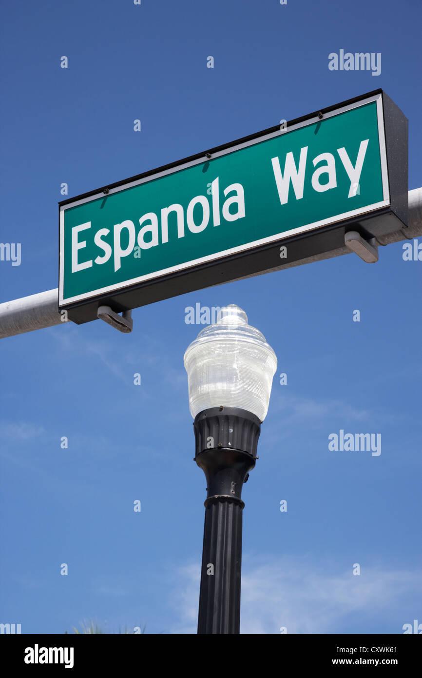 espanola way street sign sobe miami south beach florida usa - Stock Image