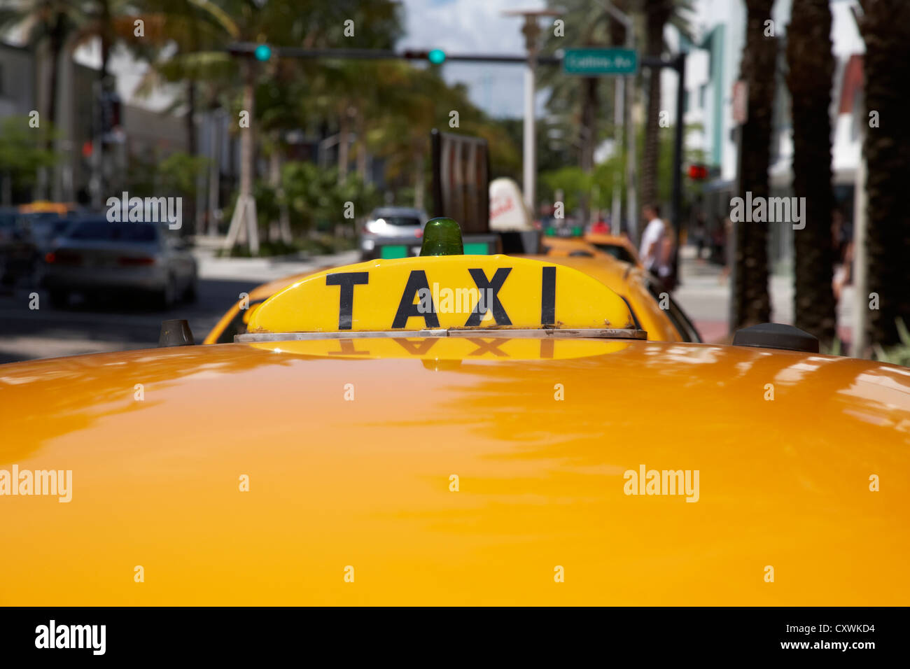 rooftop taxi sign on cab in row of yellow cab taxis in miami south beach florida usa - Stock Image