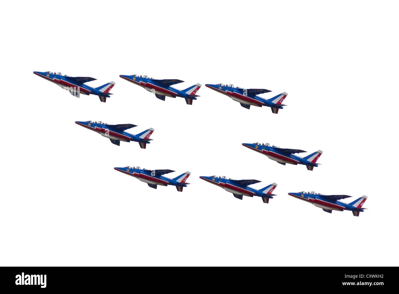 A performance by the French Acrobatic Patrol (Patrouille de France) during the Cervolix Air Festival. Alpha Jet - Stock Image