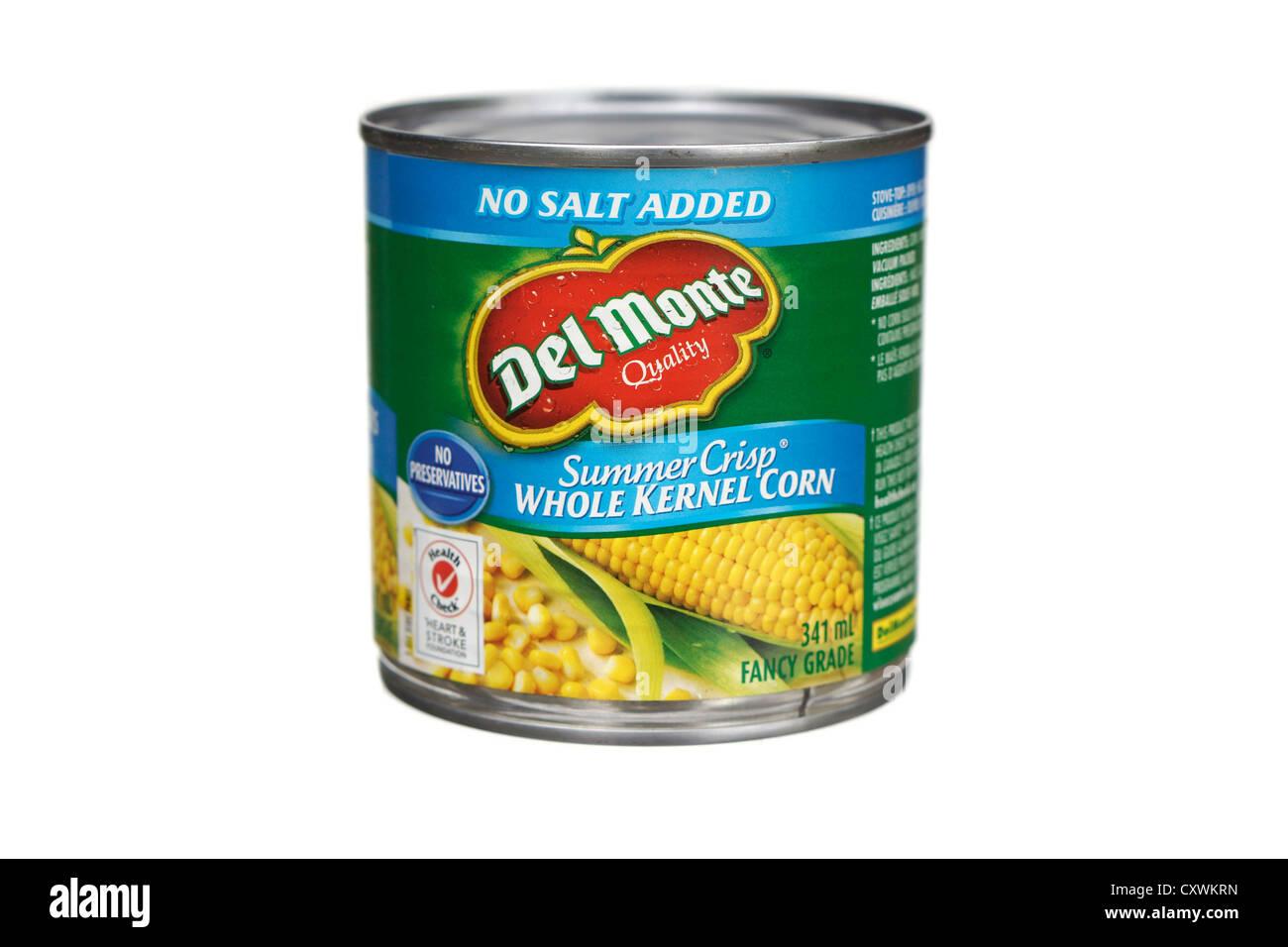 Can of Corn, kernel, kernels, no salt added, low sodium - Stock Image