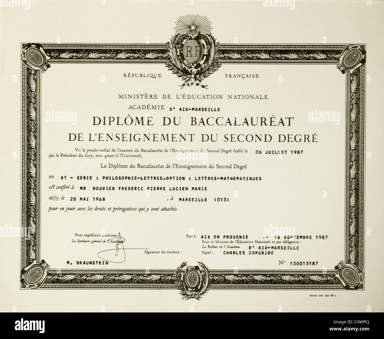 French Baccalaureat diploma - Stock Image