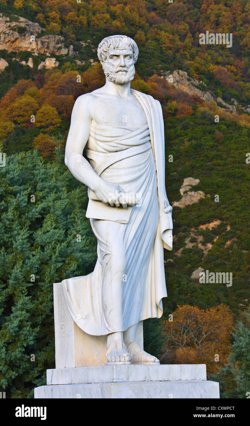 Aristotle statue located at Stageira of Greece (birthplace of the philosopher) - Stock Image
