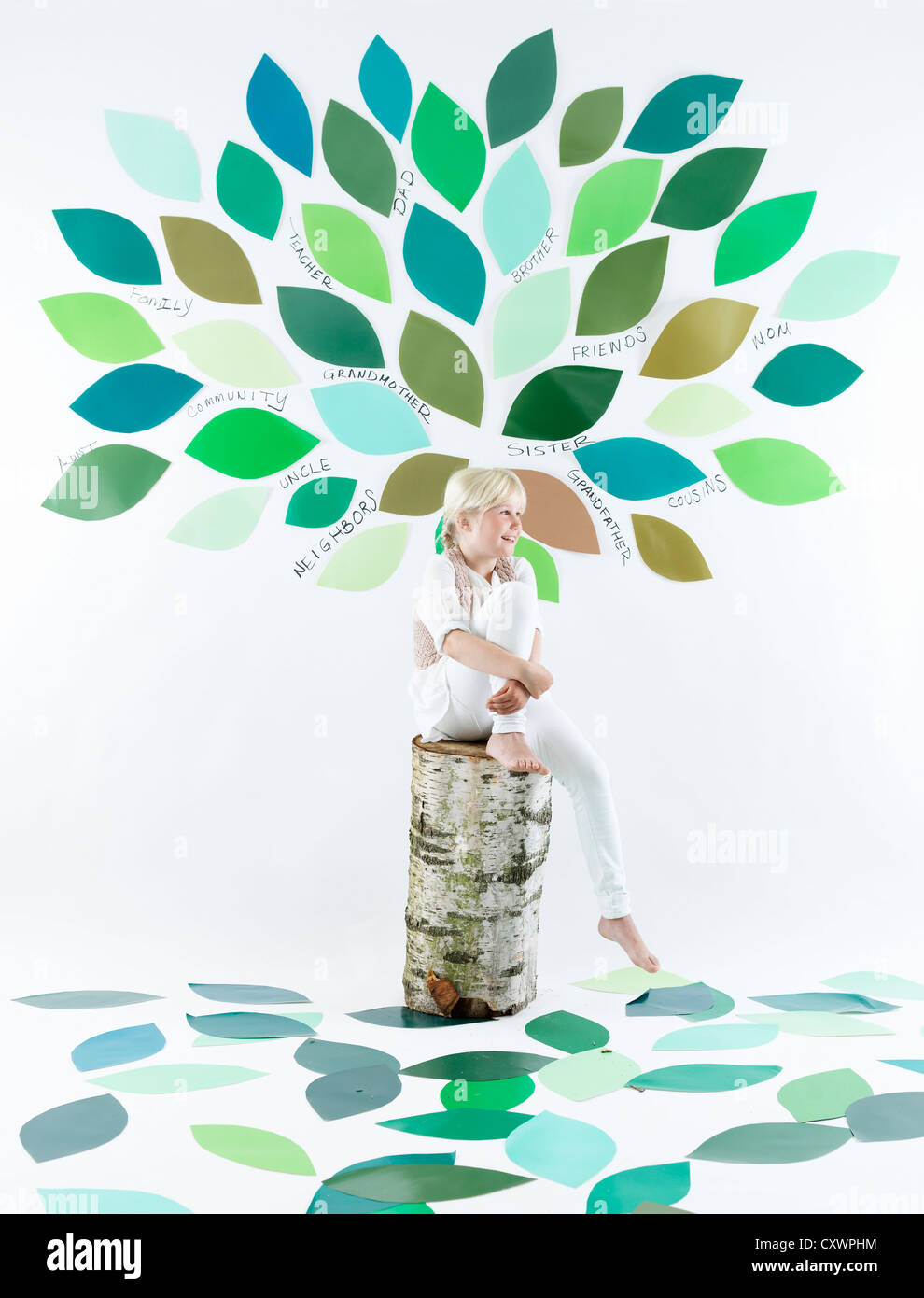 Girl sitting under tree on wall - Stock Image