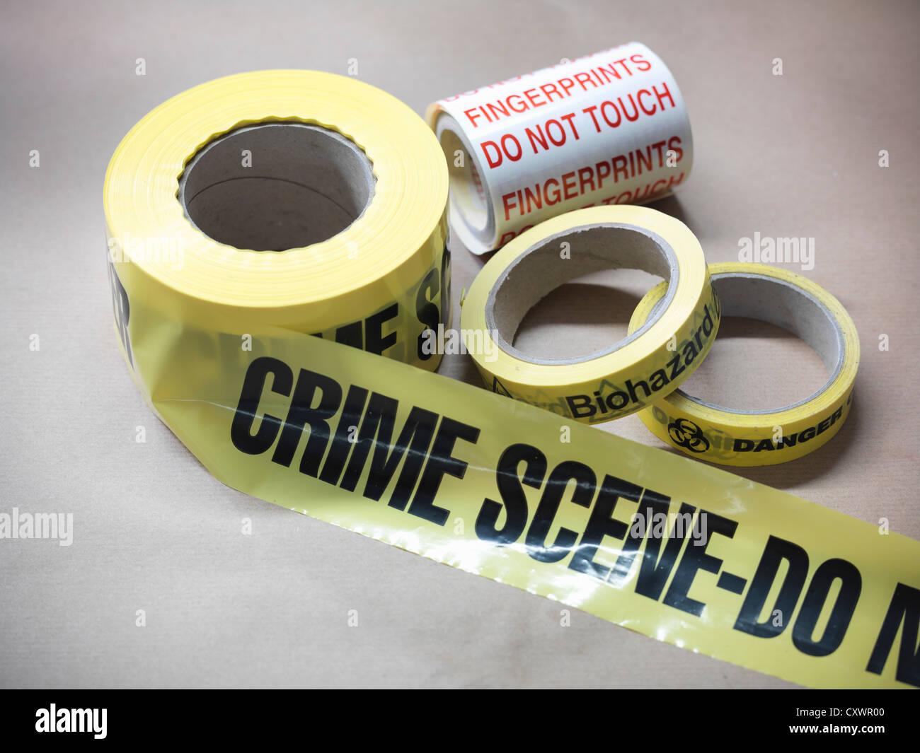 Close up of crime scene tape - Stock Image