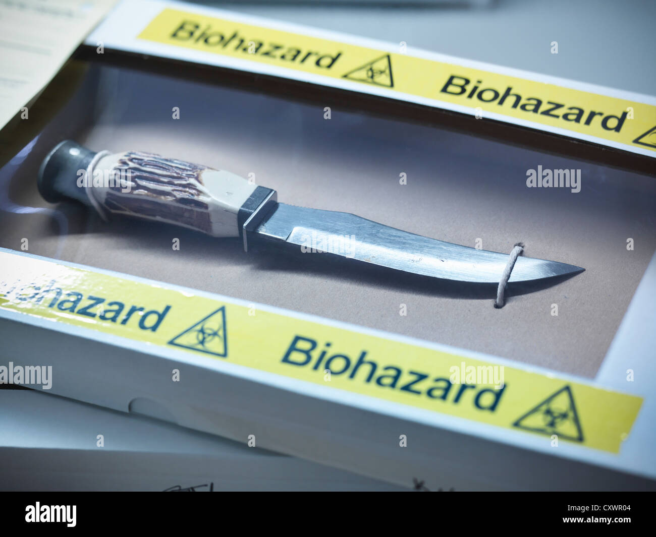 Knife in forensic biohazard box - Stock Image