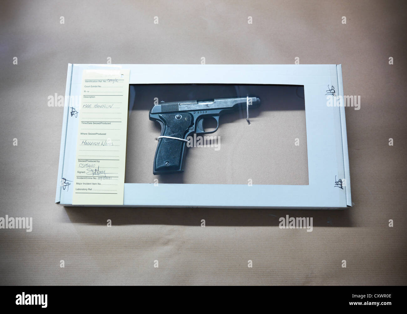 Gun in forensic biohazard box - Stock Image