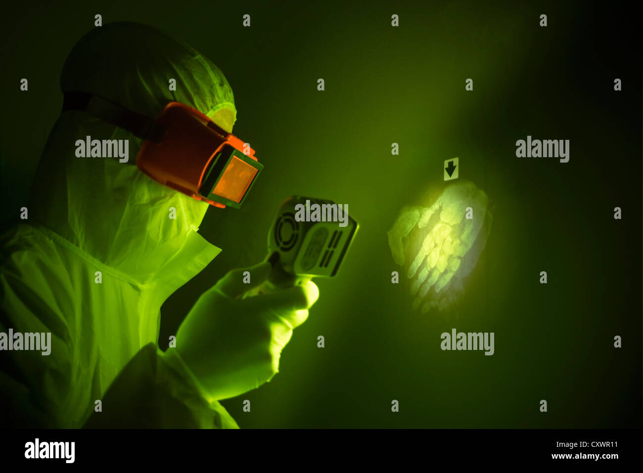 Forensic scientist with handprint - Stock Image