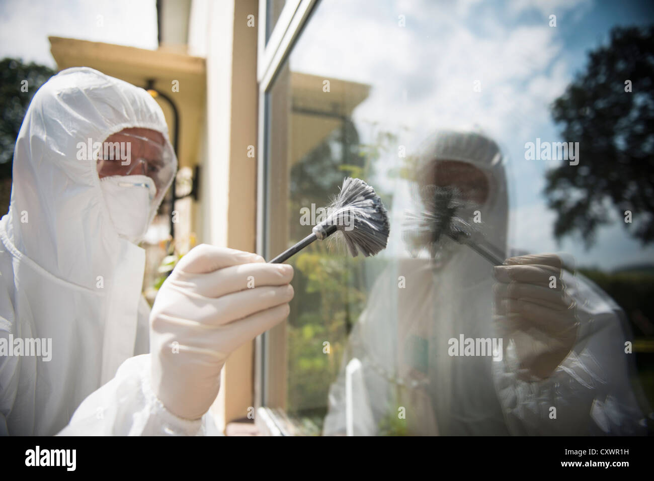 Forensic scientist dusting window - Stock Image