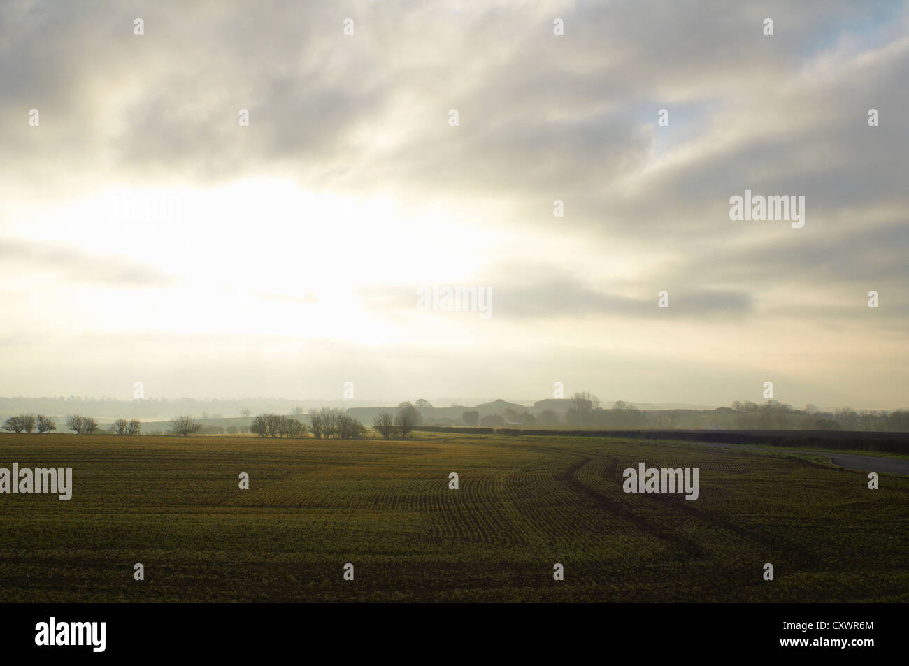 Cloudy sky over rural landscape Stock Photo