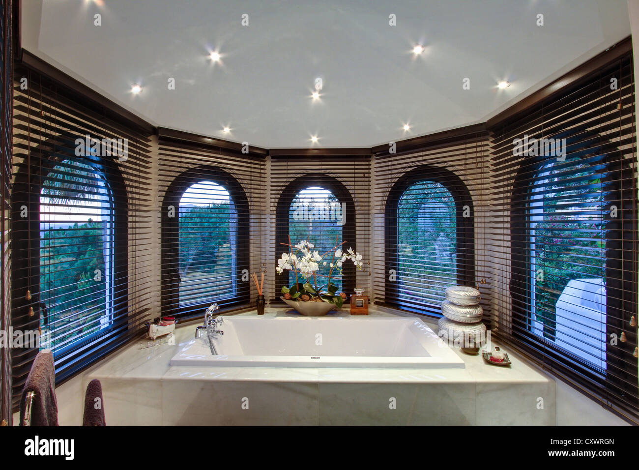 Bathtub in modern bathroom - Stock Image