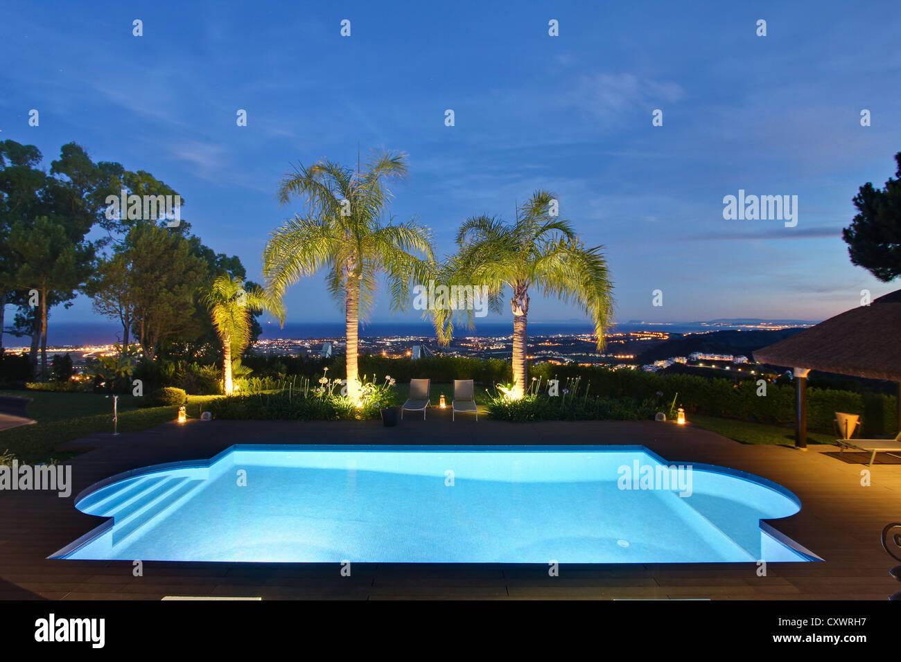 Illuminated pool and palm trees - Stock Image