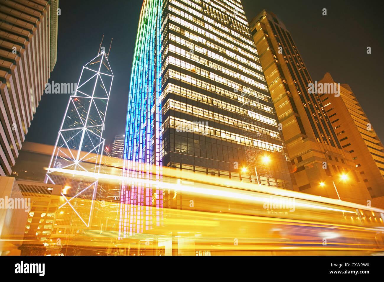 Time lapse view of urban traffic Stock Photo
