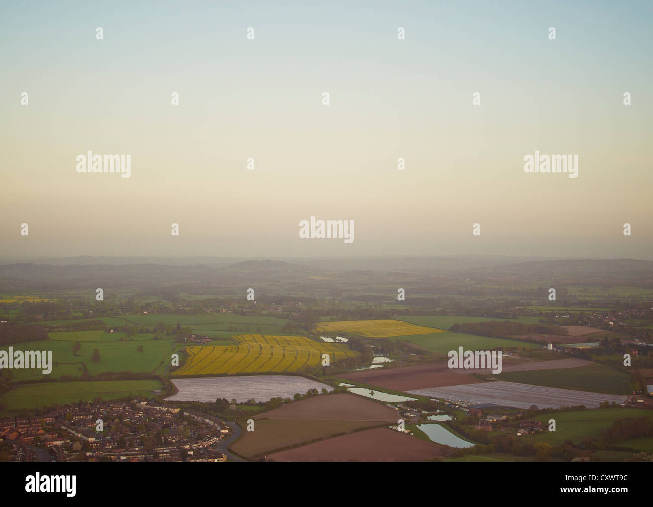 Aerial view of city and rural suburbs - Stock Image