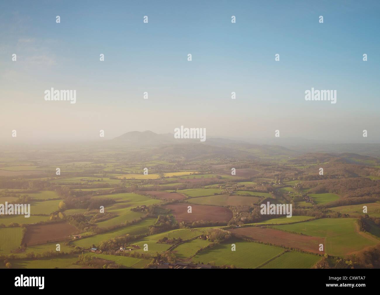 Aerial view of rural farmlands - Stock Image