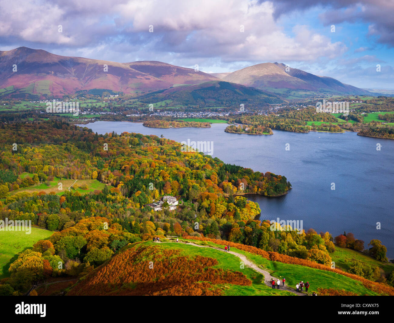 View from Catbells over Derwent Water towards Lonscale Fell, Blencathra and Keswick in the Lake District Cumbria - Stock Image