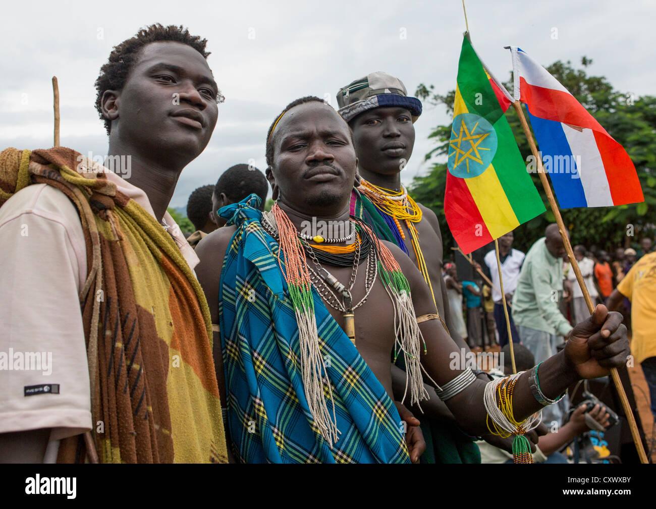 Suri Tribe Men At A Ceremony Organized By The Government, Kibish, Omo Valley, Ethiopia Stock Photo