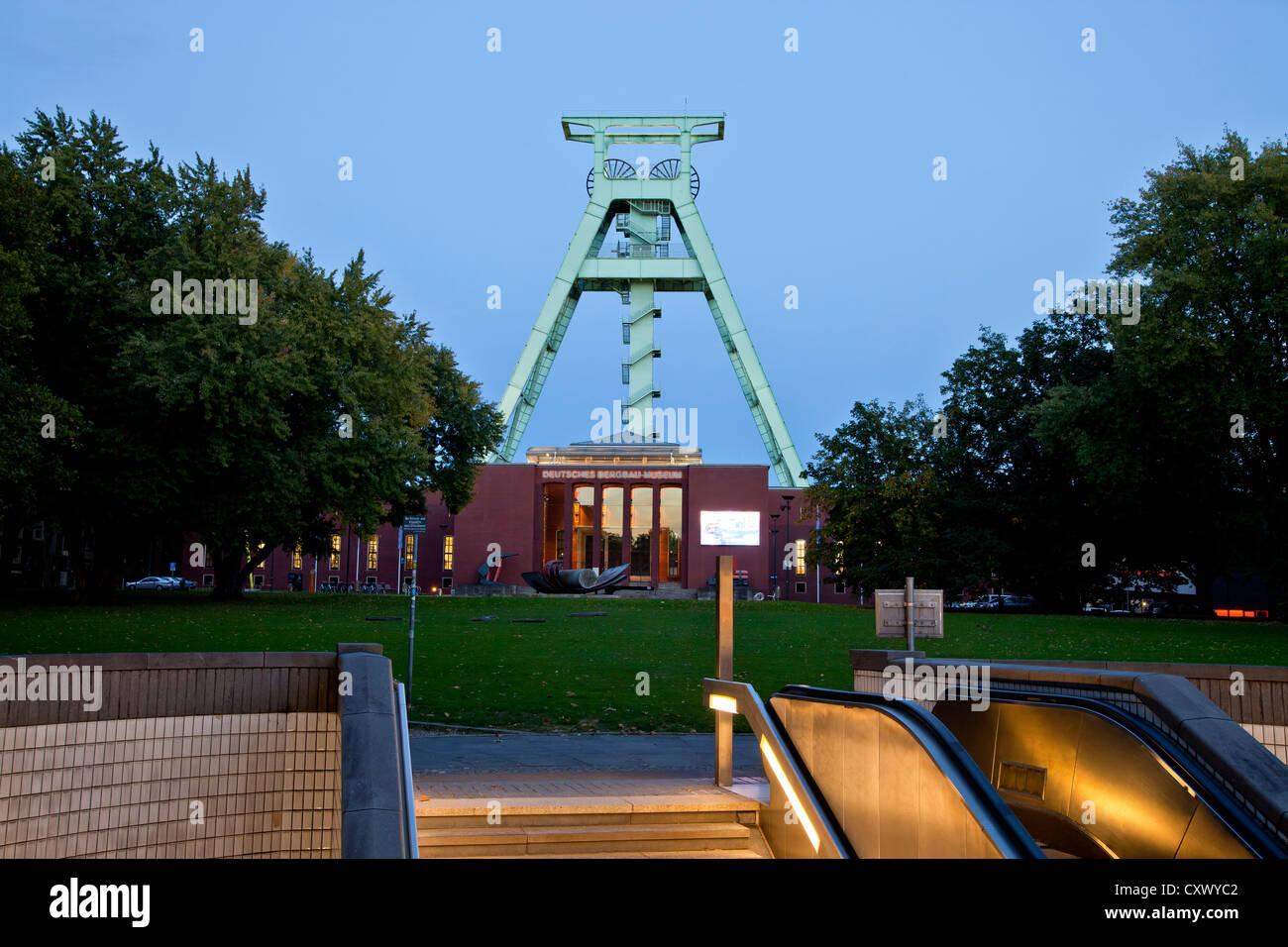 The German Mining Museum 'Deutsche Bergbau-Museum' with winding tower in Bochum, North Rhine-Westphalia, - Stock Image