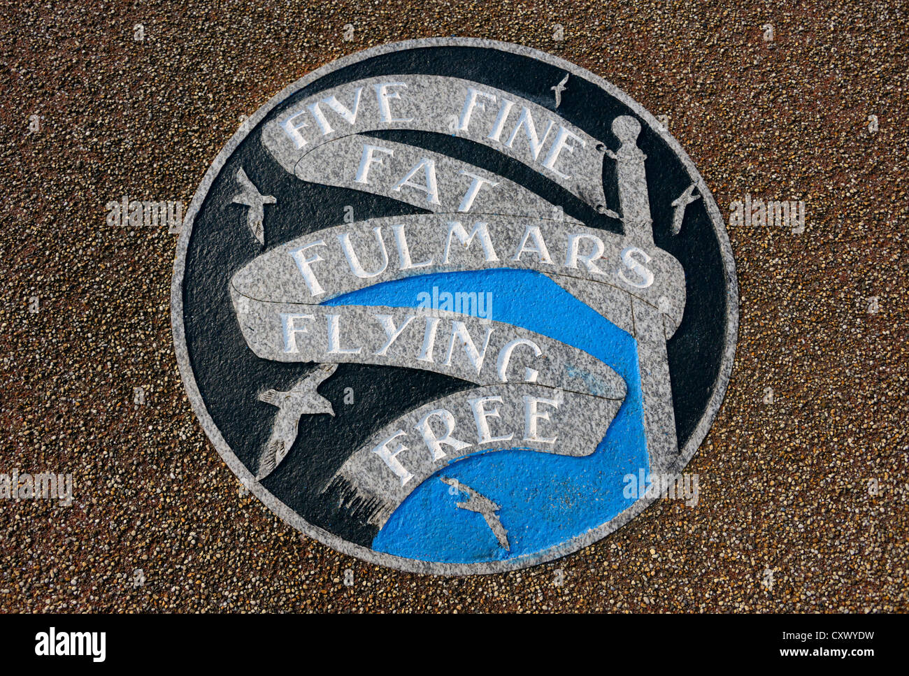 'FIVE FINE FAT FULMARS FLYING FREE'. The Tern Project, The Stone Jetty, Morecambe, Lancashire, England, - Stock Image
