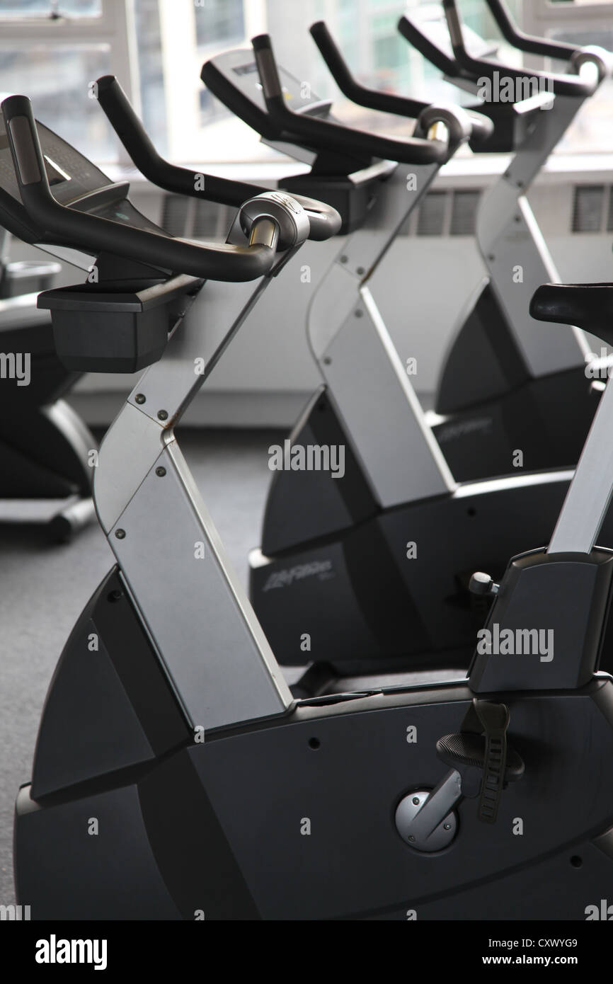 bicycle exercise cardio gym cycling equipment - Stock Image