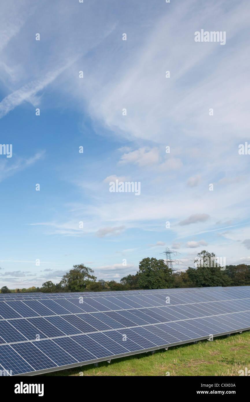 Solar Panels being installed at Parkwall Farm, Westonzoyland Road, Bridgewater. - Stock Image