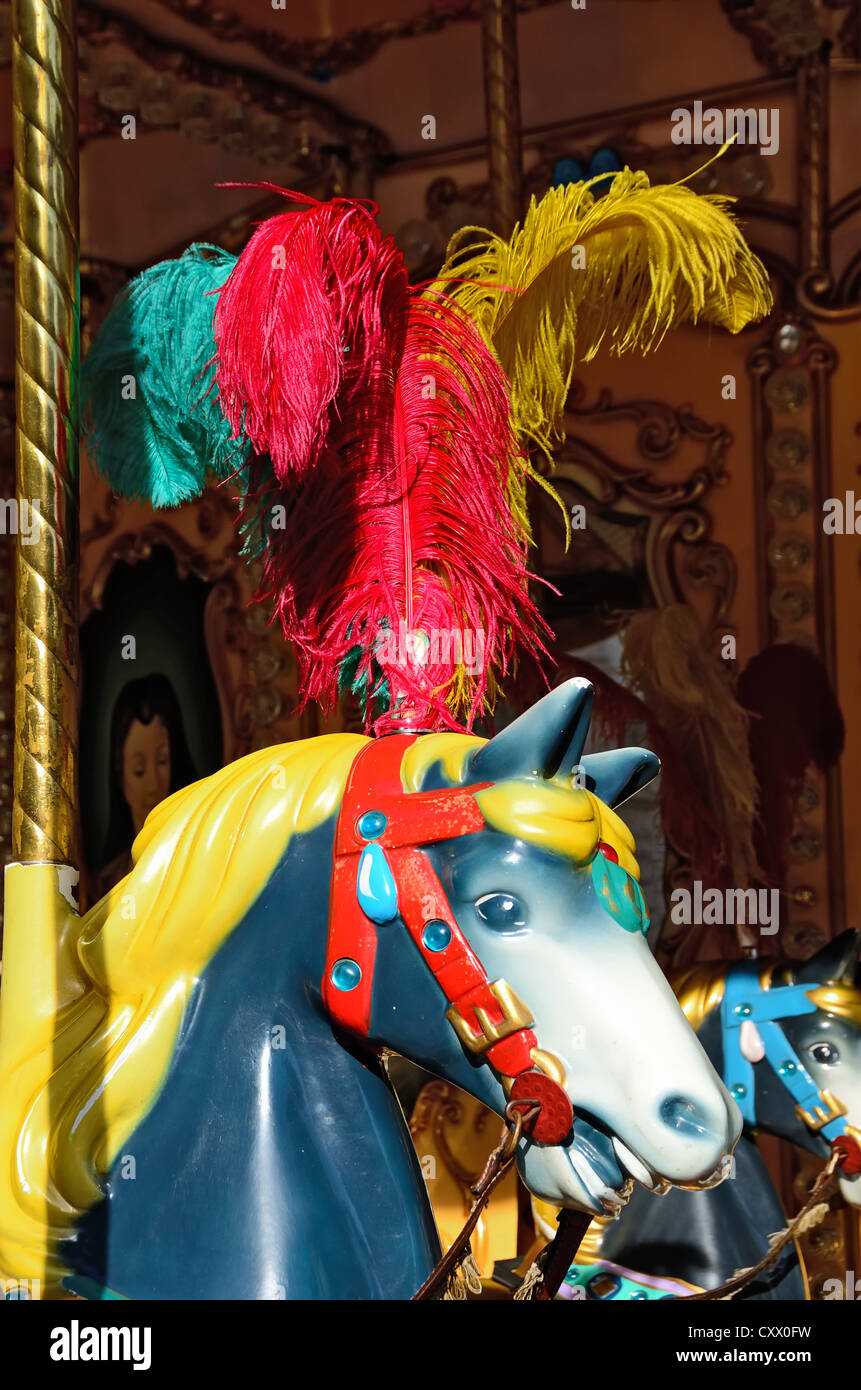 Carousel horse at the Old City Centre in Florence, Tuscany, Italy - Stock Image