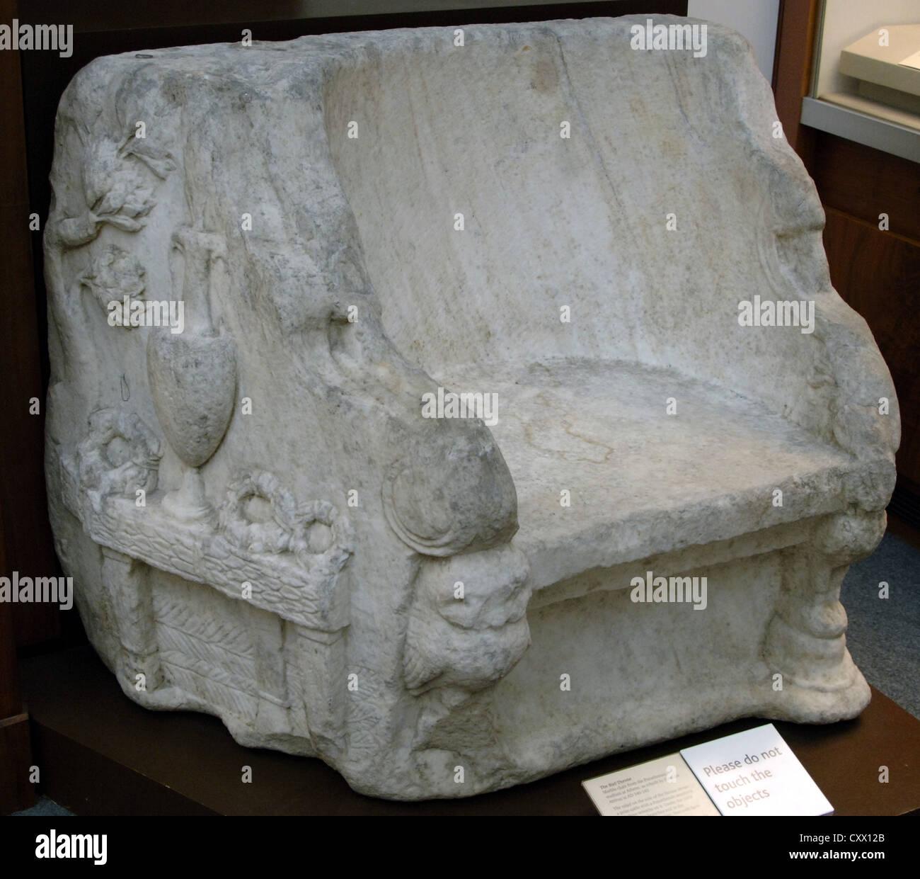 The Biel Throne. Marble. From the roman Panathenaic Stadium, Athens. British Museum. London. - Stock Image