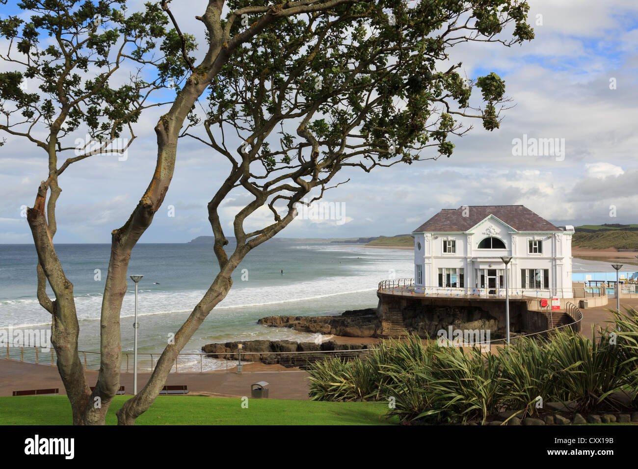The Arcadia building on the seafront at East Strand beach in Portrush, County Antrim, Northern Ireland, UK Stock Photo