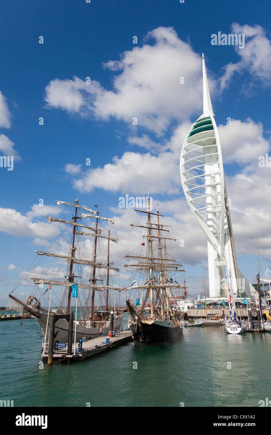 Tall ships and Spinnaker Tower, Portsmouth, UK - Stock Image