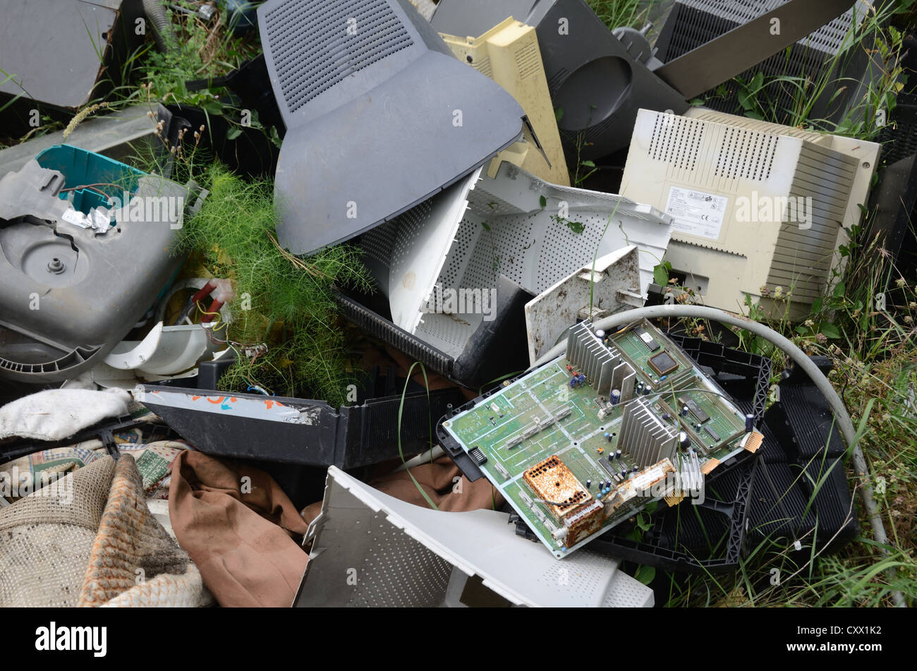 Discarded Computers and Hard Drives in Dump or Waste Tip Provence France - Stock Image