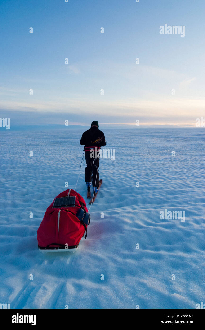 Scene of expedition life on a polar journey west of Kulusuk, Greenland - Stock Image