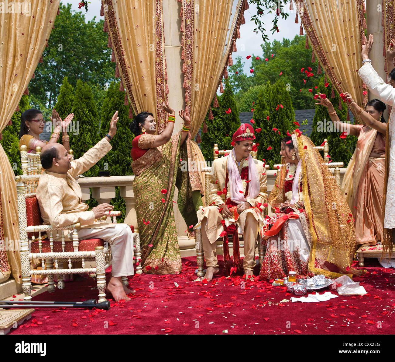 Indian bride and groom at wedding Stock Photo