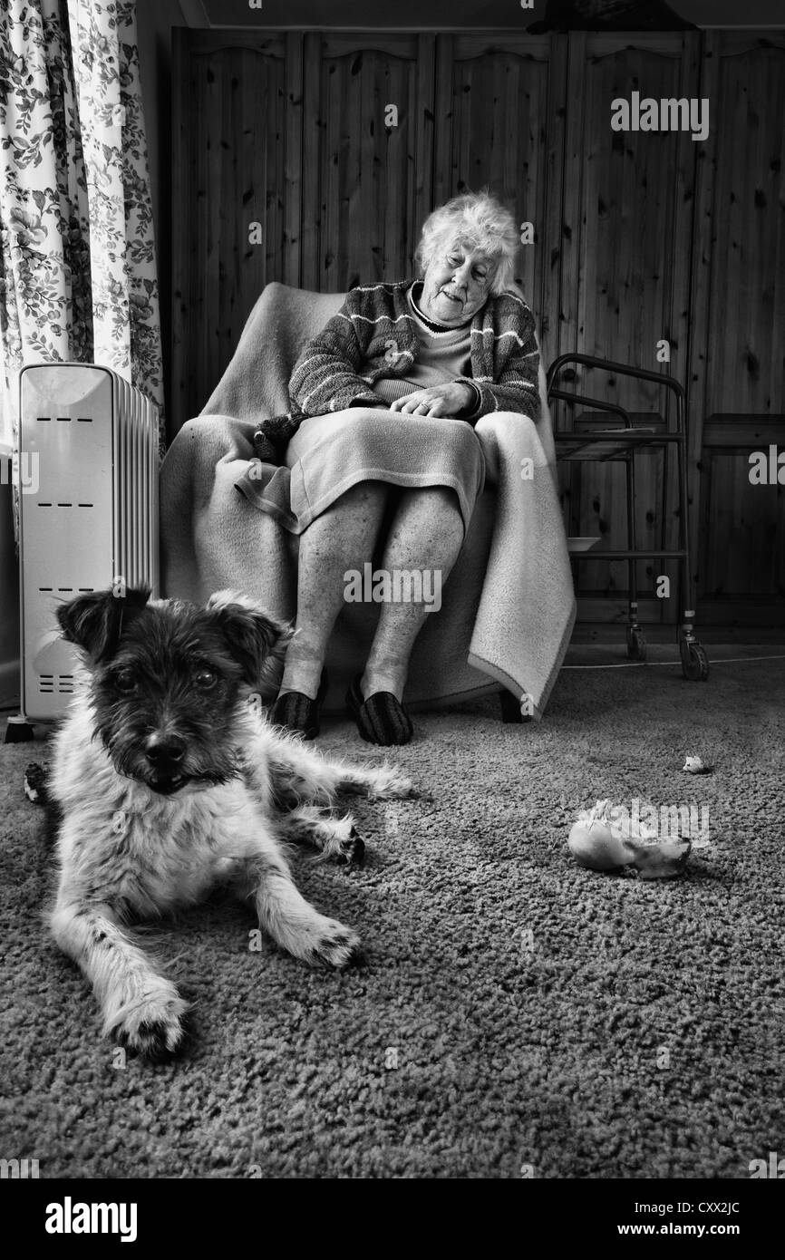 Old Lady with her pet dog - Stock Image