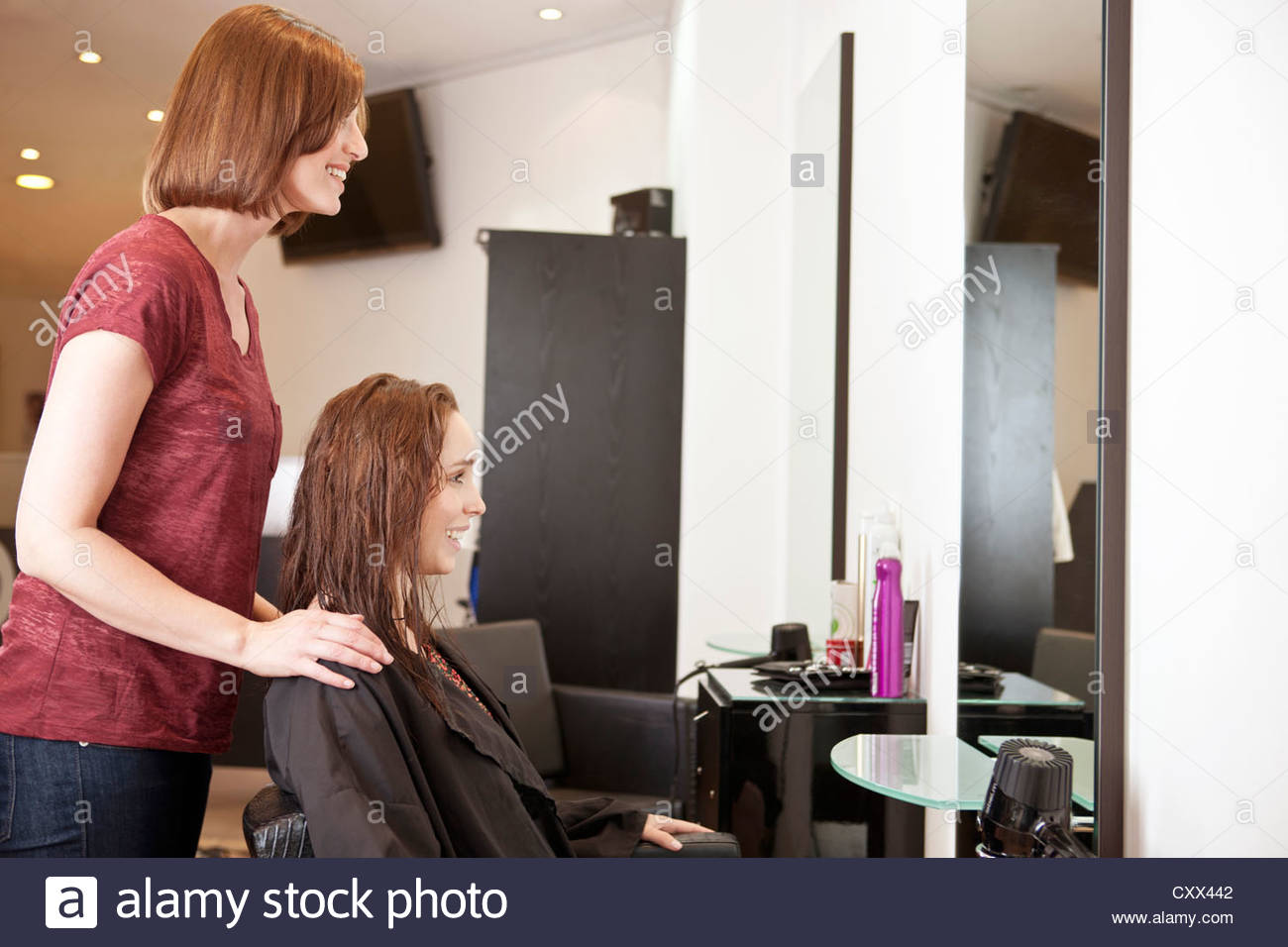 A female hairdresser discussing a female clients hair - Stock Image