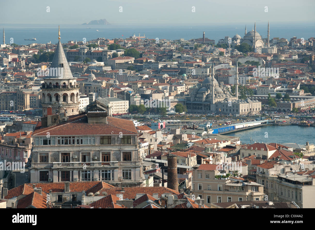 ISTANBUL, TURKEY. A view over the rooftops of Beyoglu to the historic centre of the old city. 2012. - Stock Image