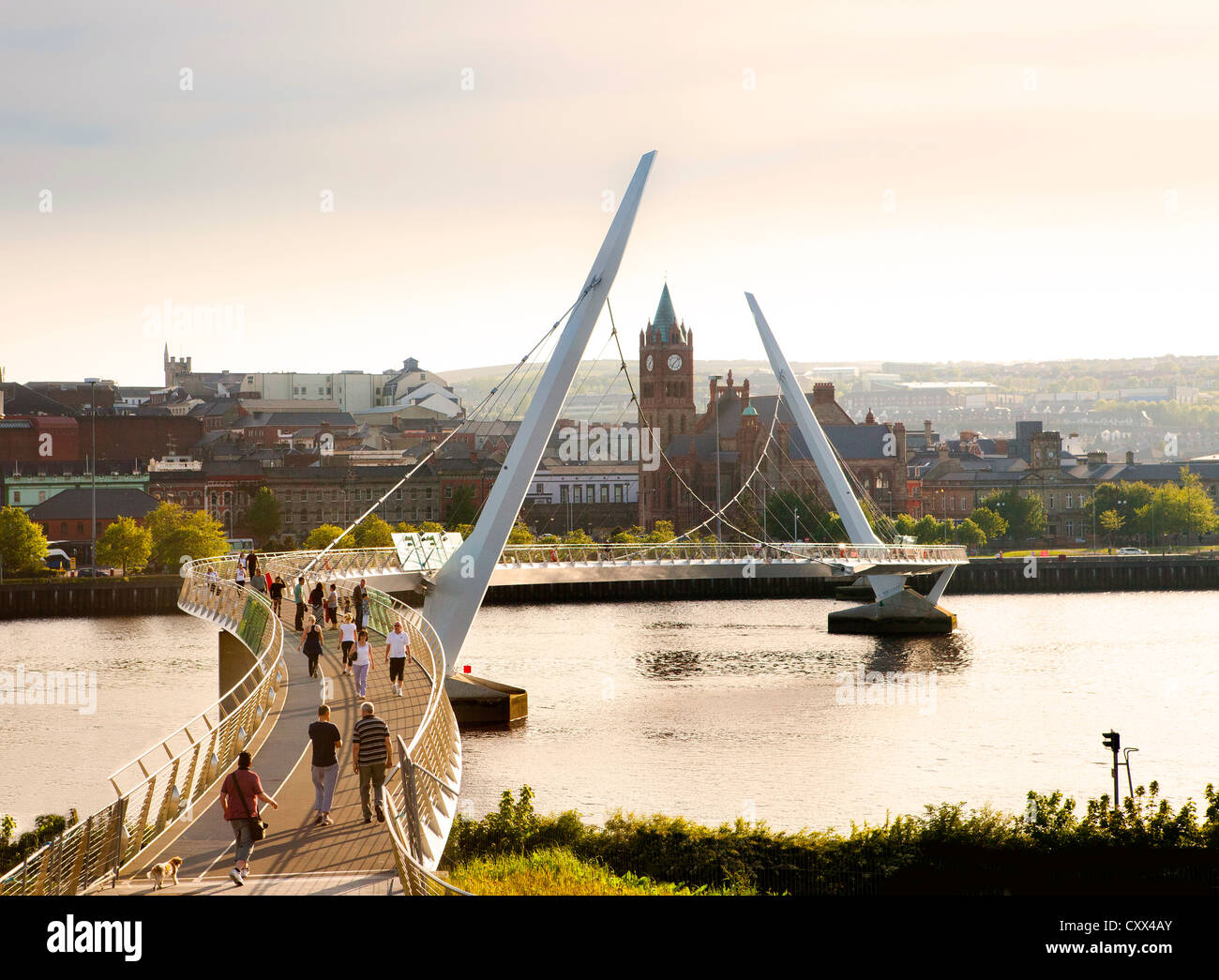 Derry Peace Bridge, Northern Ireland - Stock Image