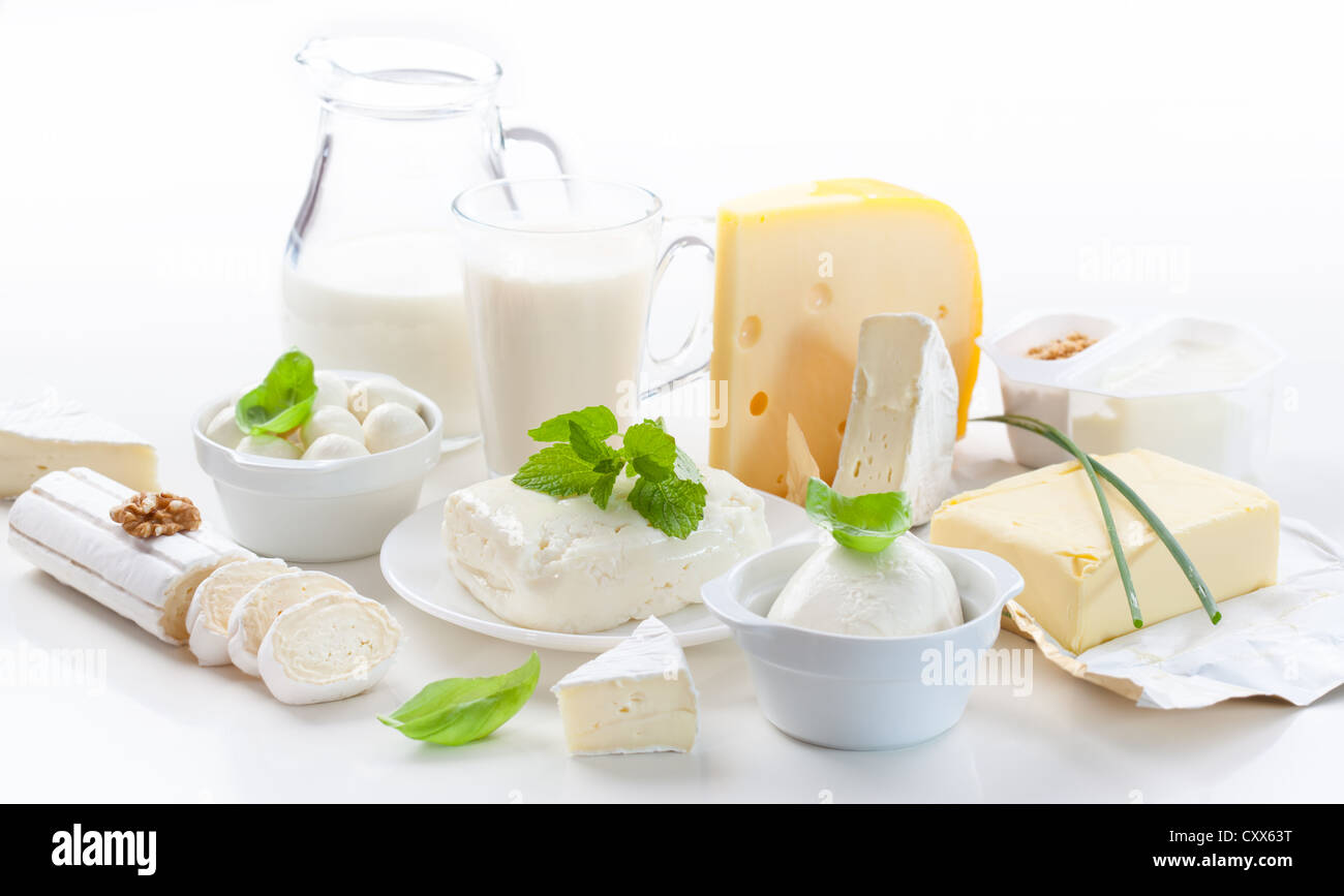 Assortment of dairy products on white background - Stock Image