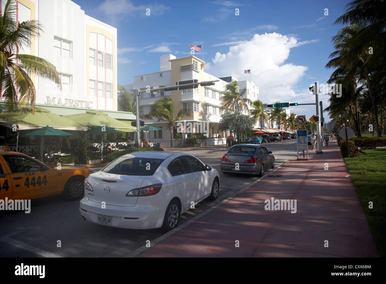 ocean drive early morning art deco district miami south beach florida usa - Stock Image