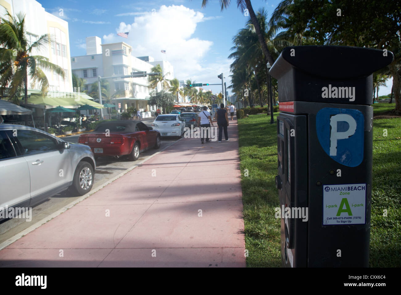 parking ticket machine ocean drive early morning art deco district miami south beach florida usa - Stock Image