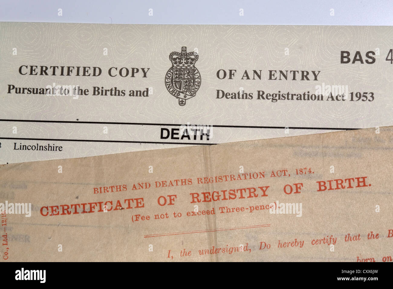 Birth And Death Certificate Stock Photo 50977777 Alamy