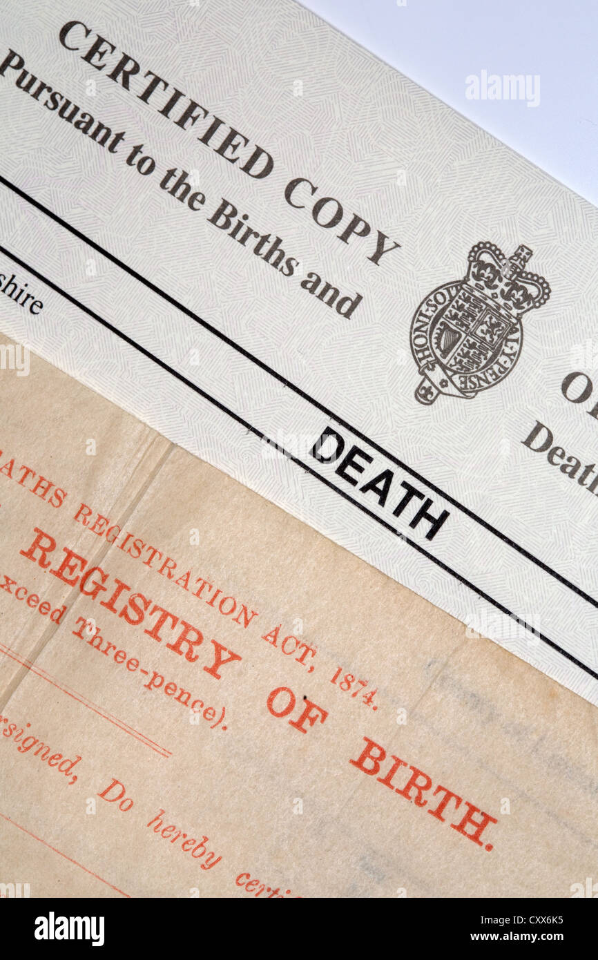 Birth And Death Certificate Stock Photo 50977785 Alamy
