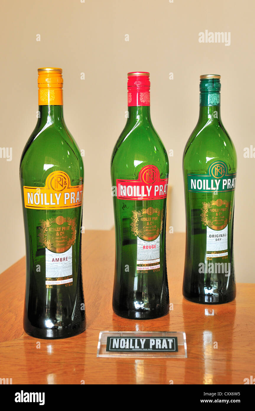 Three varieties of Noilly Prat produced on display in Marseillan cellars -l to r:Noilly Prat Red and Ambre  and - Stock Image