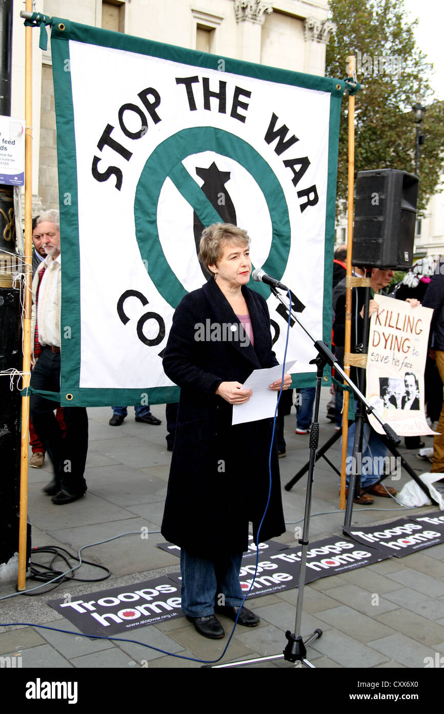 Kate Hudson, General Secretary of the Campaign for Nuclear Disarmament, speaking at Stop The War Coalition's - Stock Image