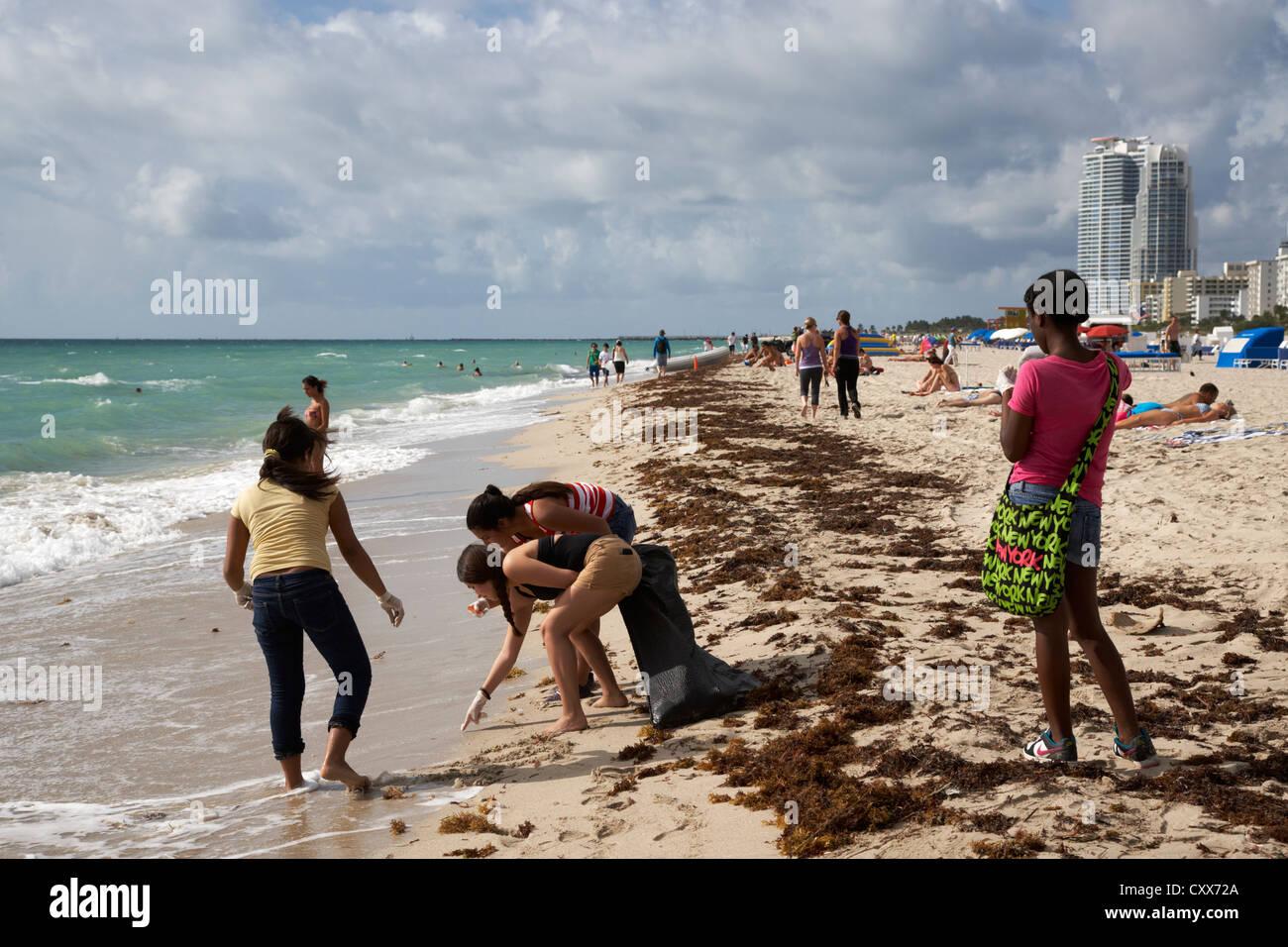 teenage girls performing beach cleanup miami south beach florida usa - Stock Image