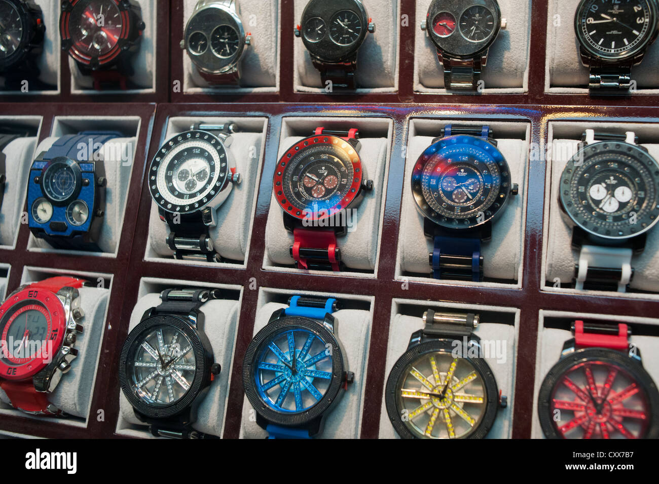 A display of hip-hop style watches with over-sized faces - Stock Image